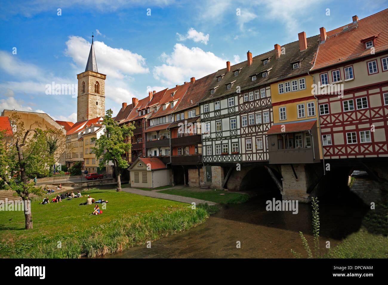 Kraemerbruecke, Merchants bridge across Gera river, Erfurt, Thuringia, Germany, Europe - Stock Image