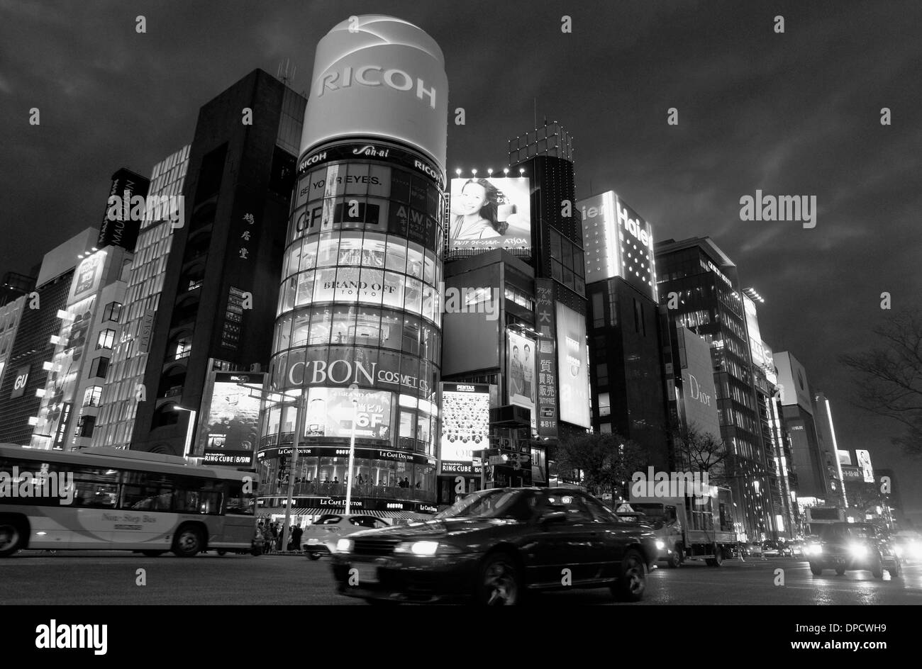 Ginza in the evening, b&w Stock Photo