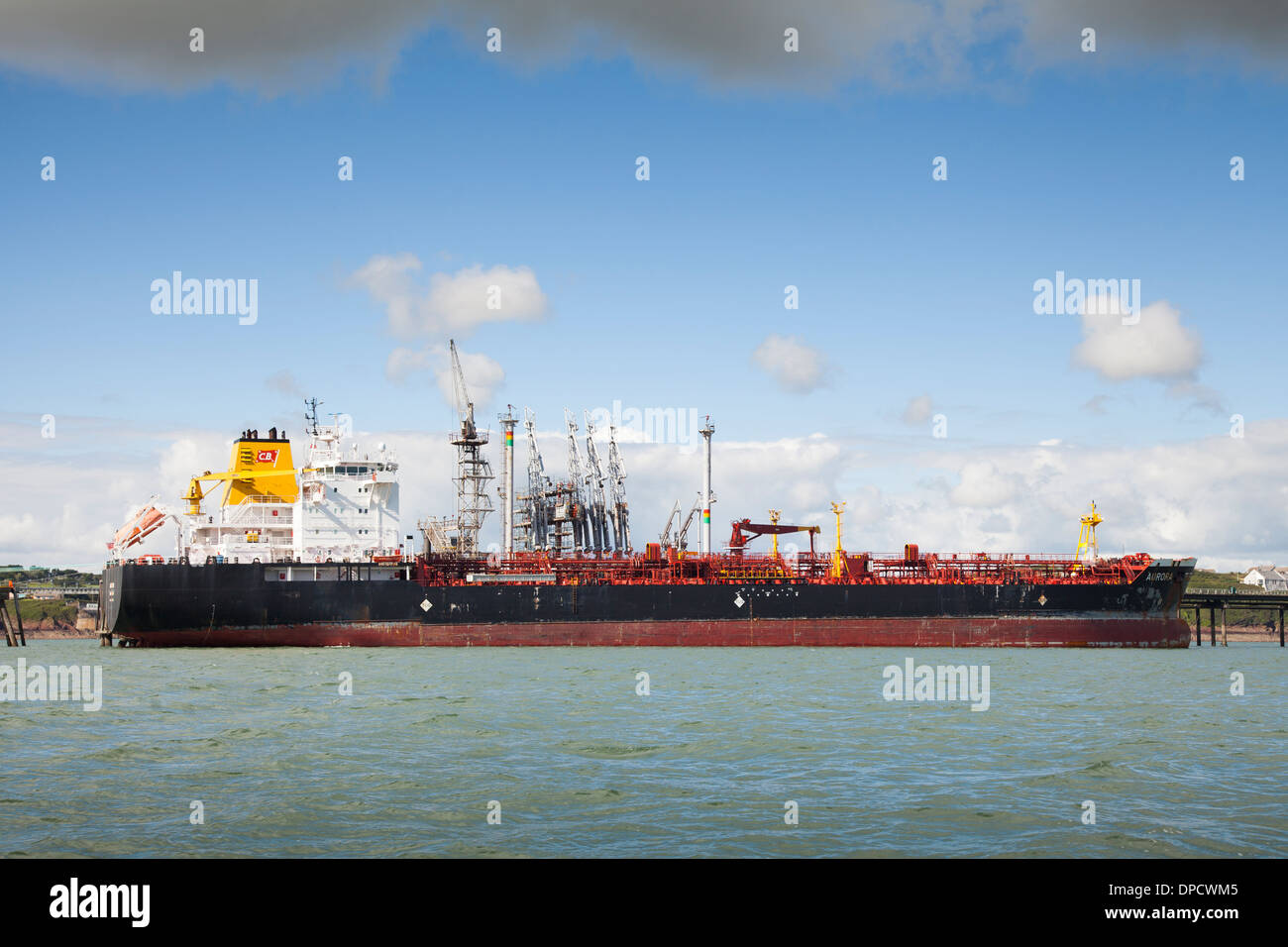Tanker moored at Milford Haven Oil refinery Stock Photo