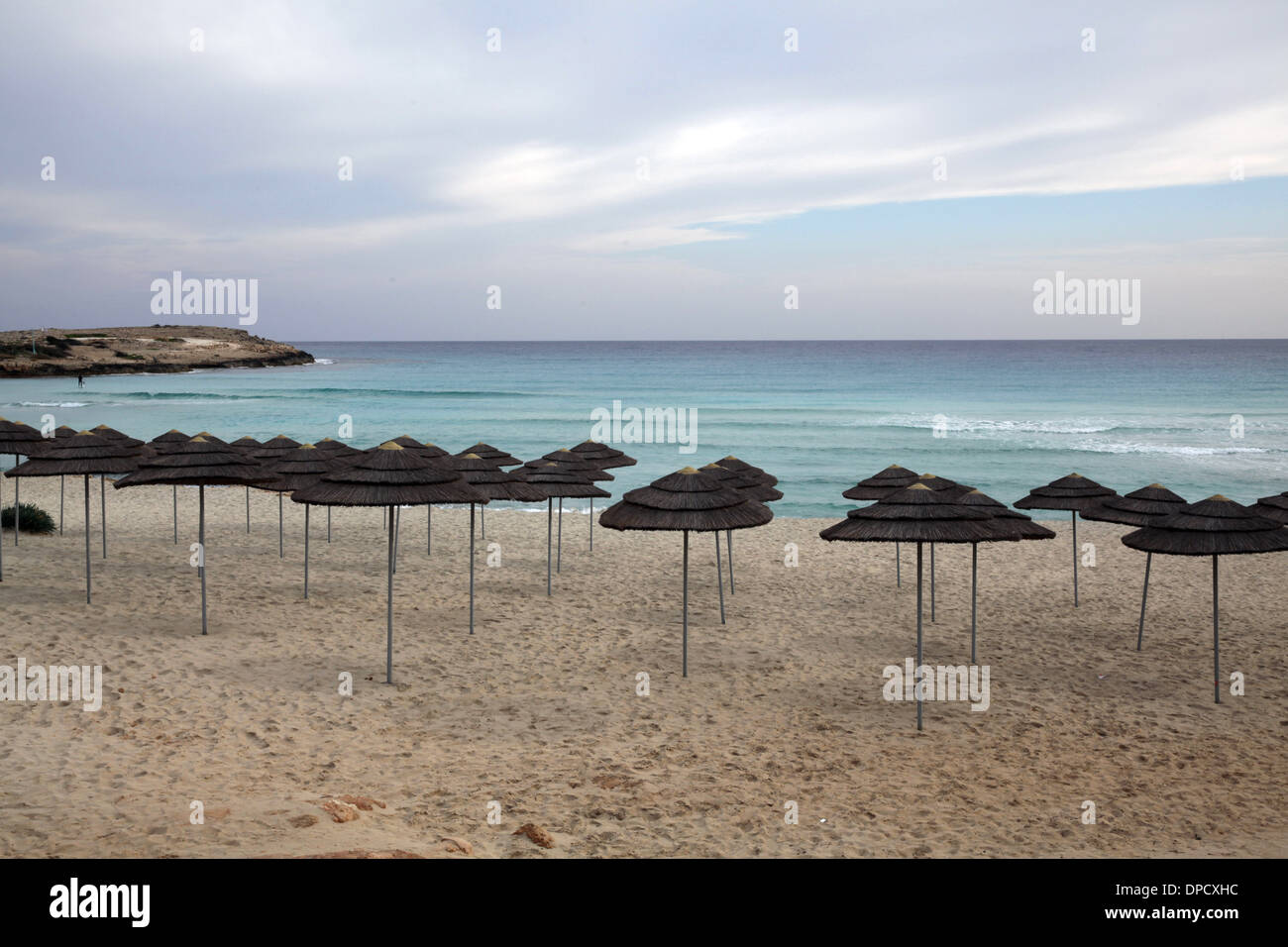 Nissi beach in Ayia Napa,Cyprus during the winter Stock Photo