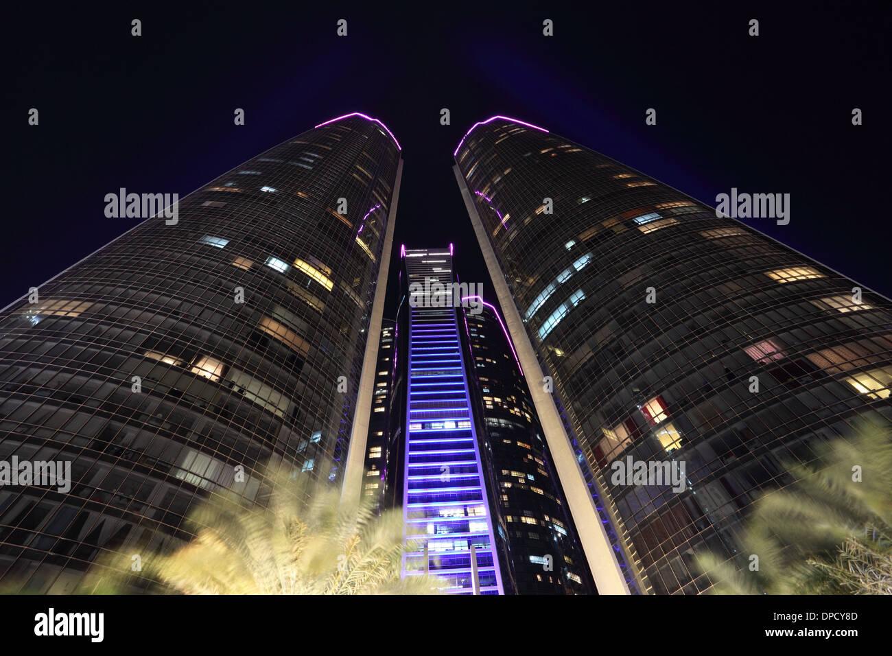 The Etihad Towers at night. Abu Dhabi, United Arab Emirates - Stock Image