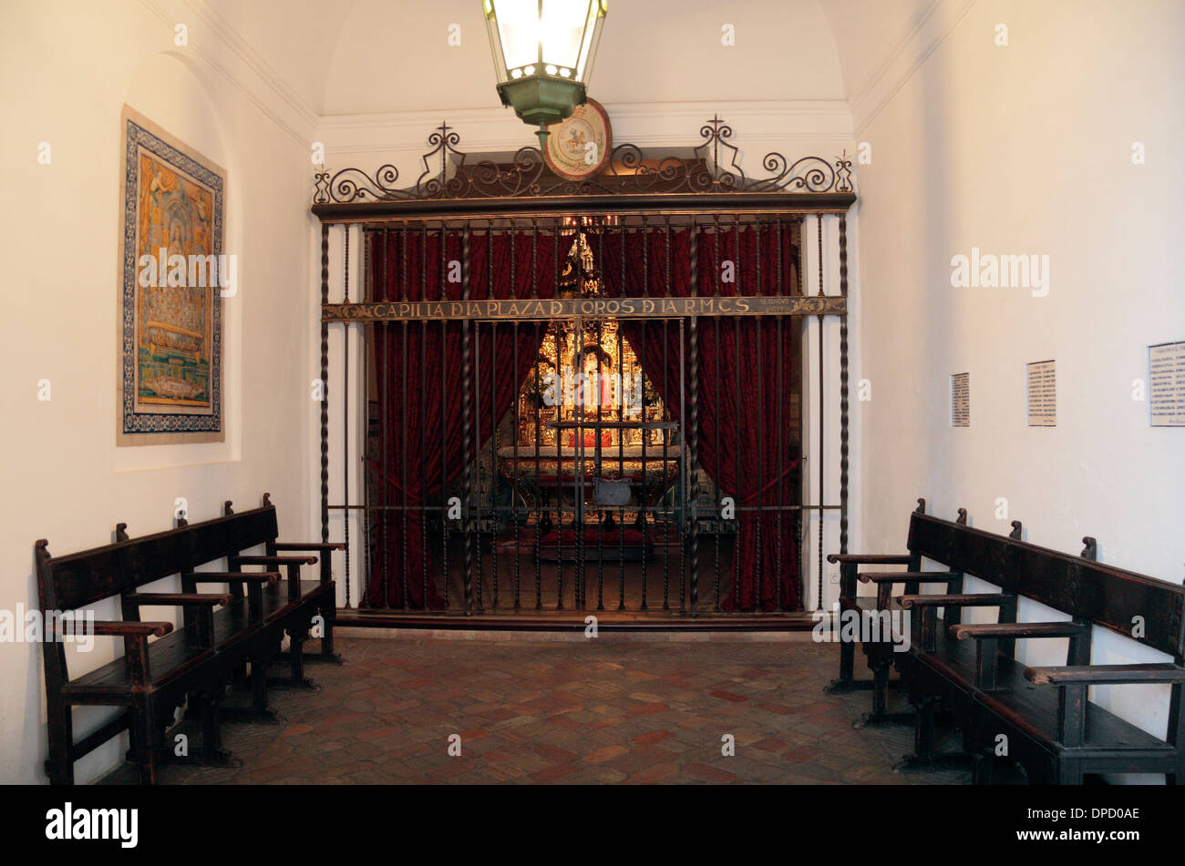 The Chapel inside the Plaza de Toros de la Real Maestranza de Caballería de Sevilla (bull ring), in Seville, Andalusia, Spain. - Stock Image