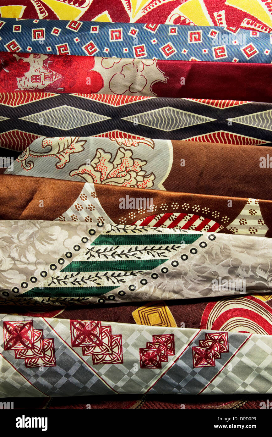 A portrait oriented shot of vintage ties from the mid-century era. - Stock Image