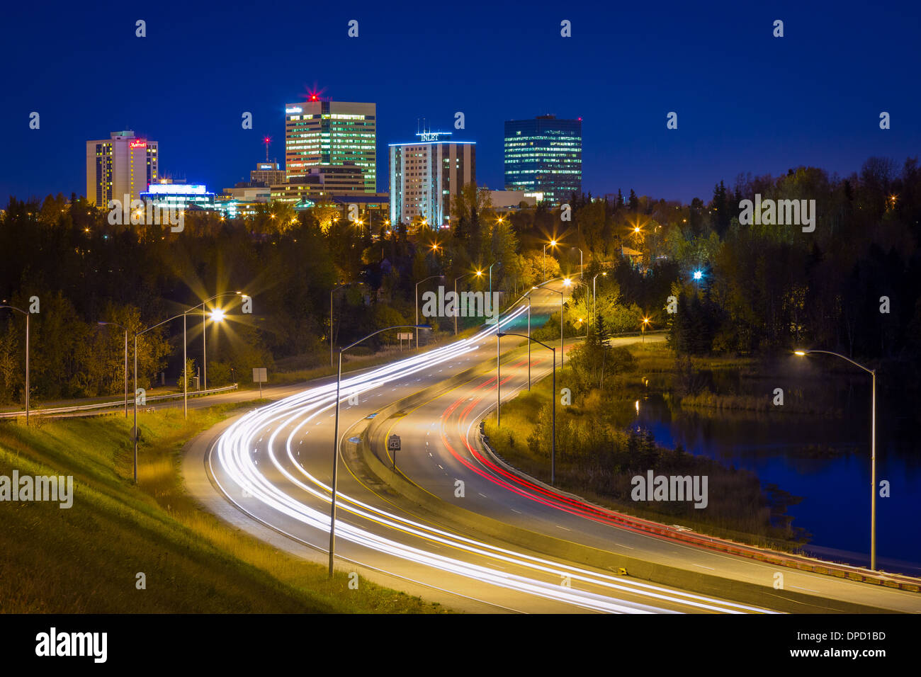 Minnesota Drive and the downtown skyline in Anchorage, Alaska - Stock Image