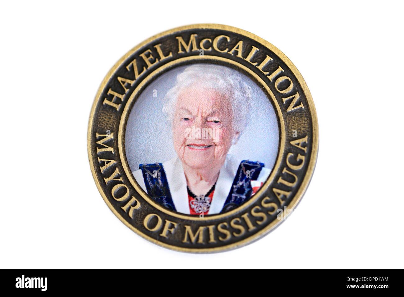 Mayor Hazel McCallion Commemorative Medallion, January 1, 2014. - Stock Image