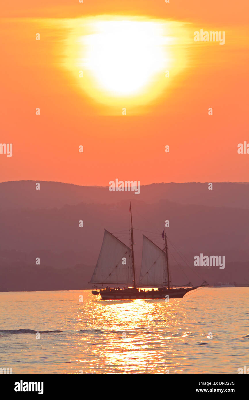 The Schooner Mystic Whaler on a sunset cruise on the Hudson River off Croton Point Park during the 2011 Stock Photo