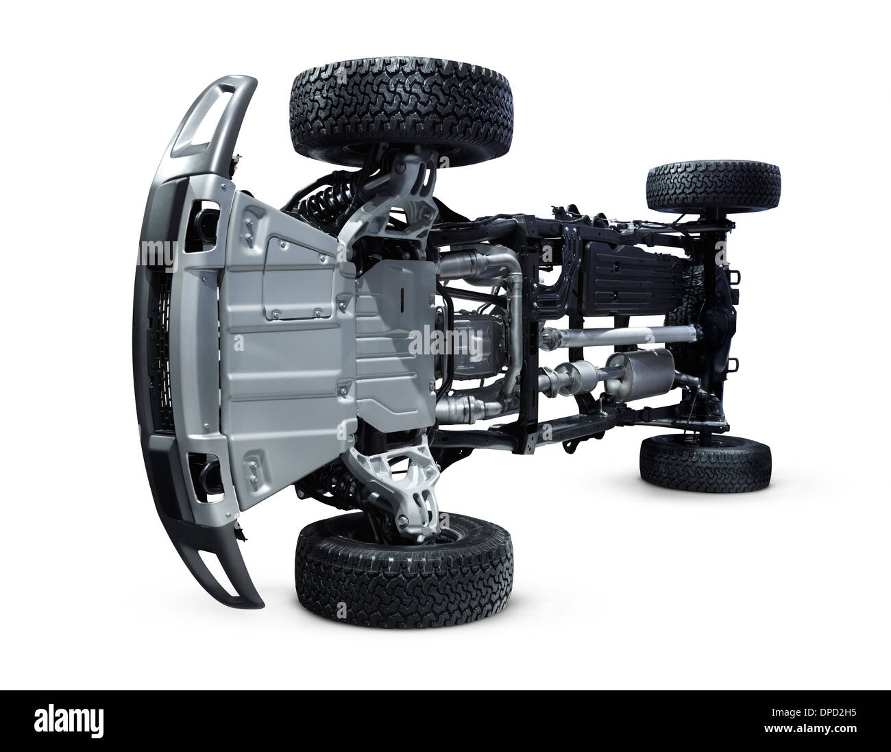 2013 Ford F-150 Raptor pickup truck undercarriage suspension isolated with clipping path on white background - Stock Image
