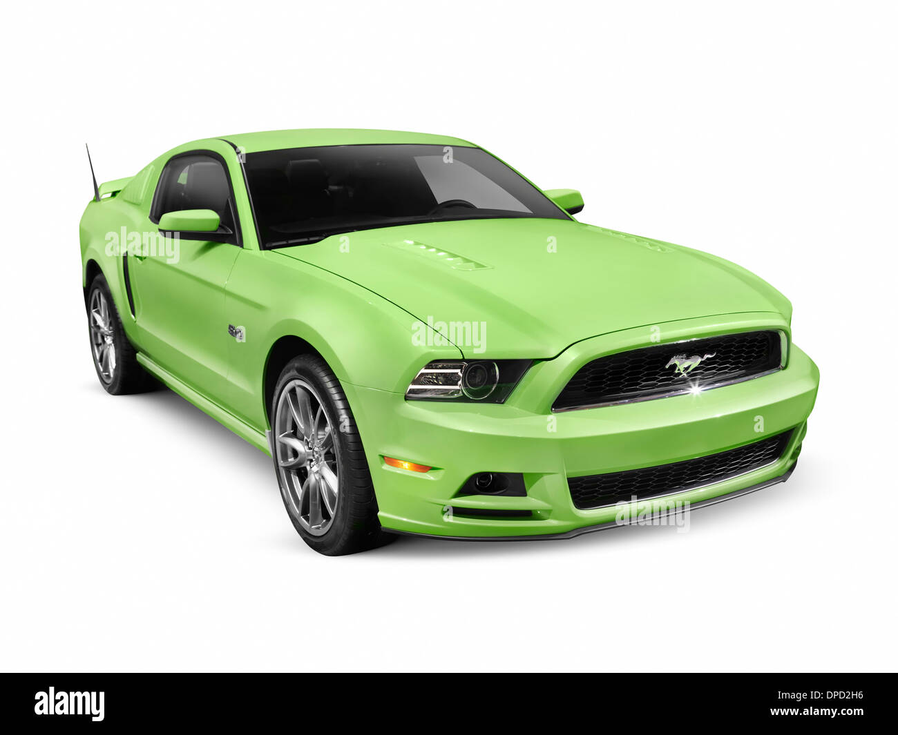 Green 2013 Ford Mustang GT 5.0 sports car isolated on white background with clipping path - Stock Image