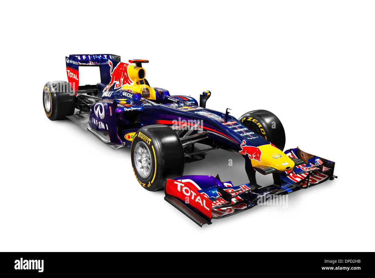 2013 Infinity Red Bull Formula One race car RB9 isolated on white background with clipping path - Stock Image