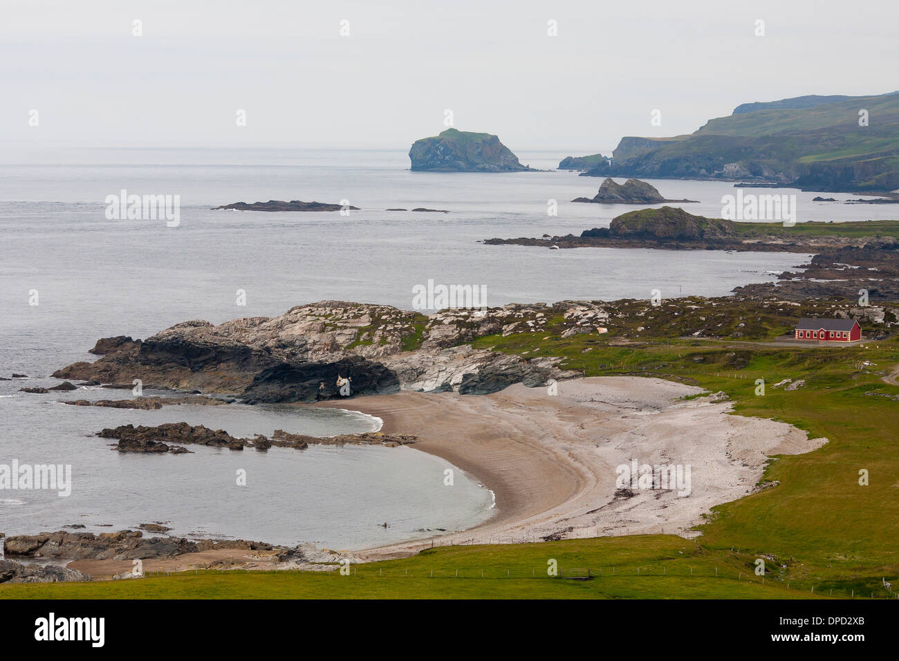 Coastal features and cliffs around Malin head on the most westerly point of Ireland - Stock Image