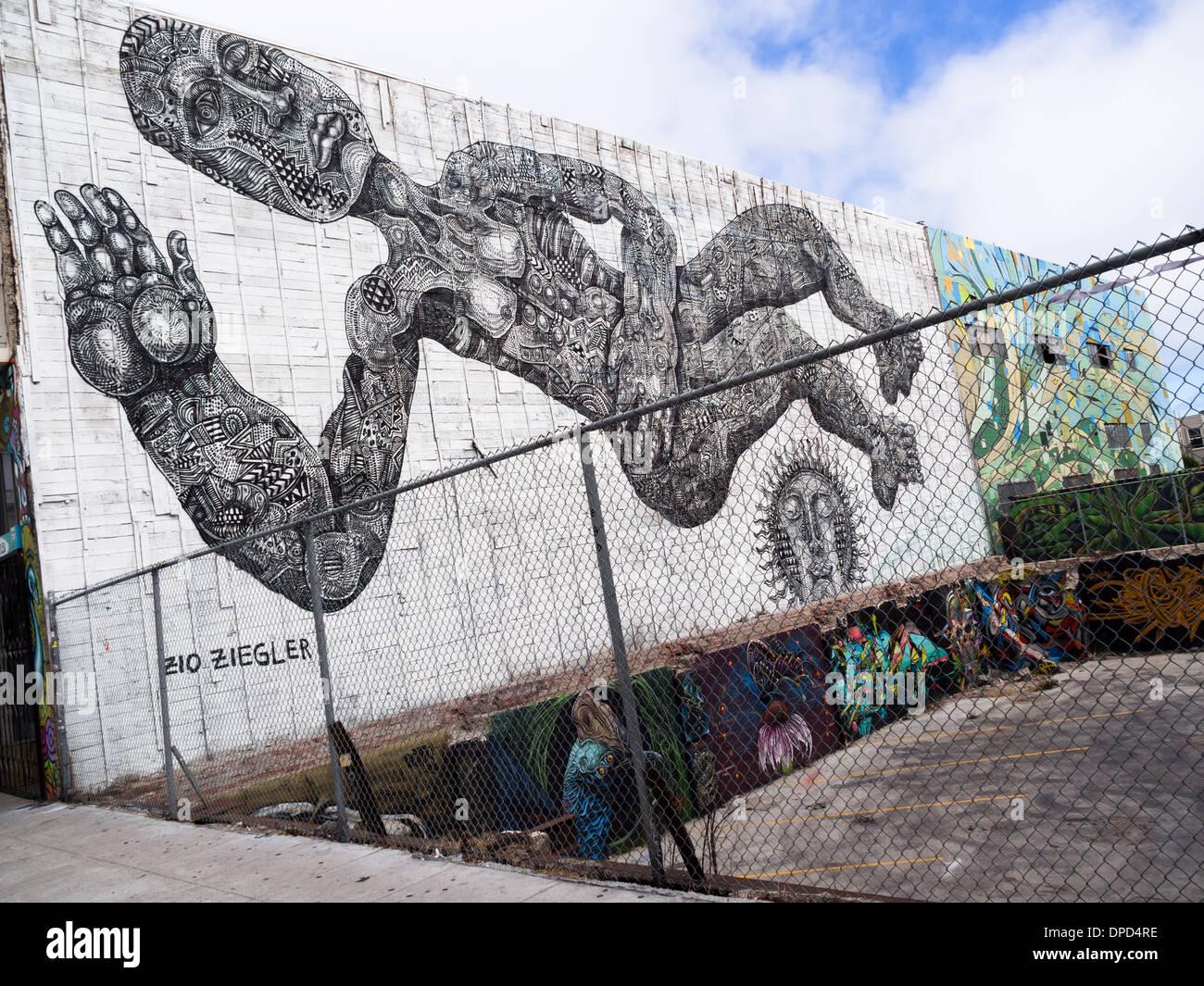 Giant Street Art Mural by Zio Ziegler in San Francisco Stock Photo