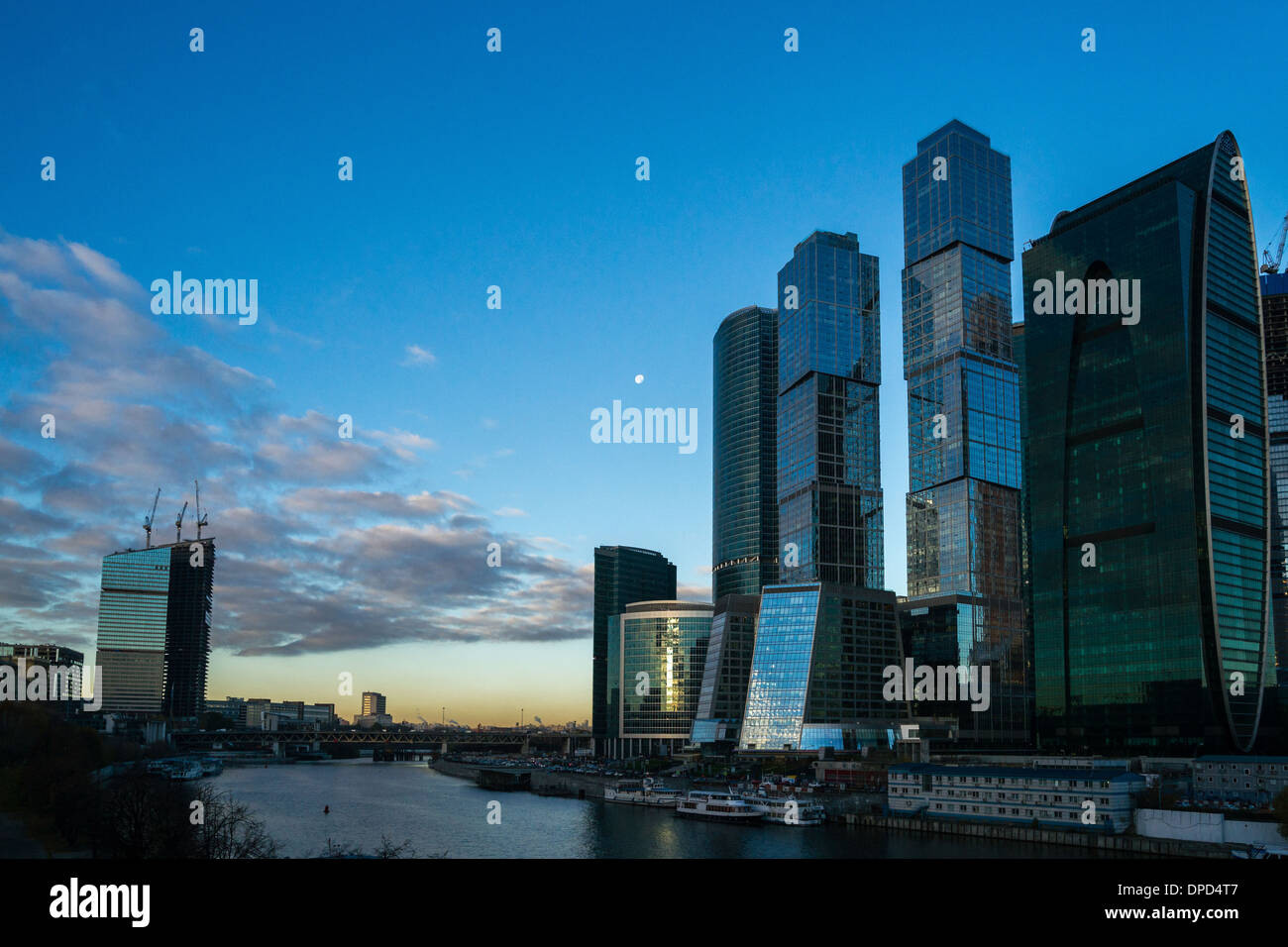 Morning view of Moscow City business centre Stock Photo