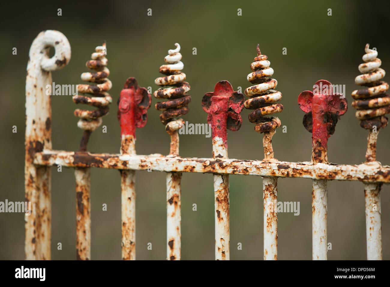 An antique, painted metal gate - Stock Image