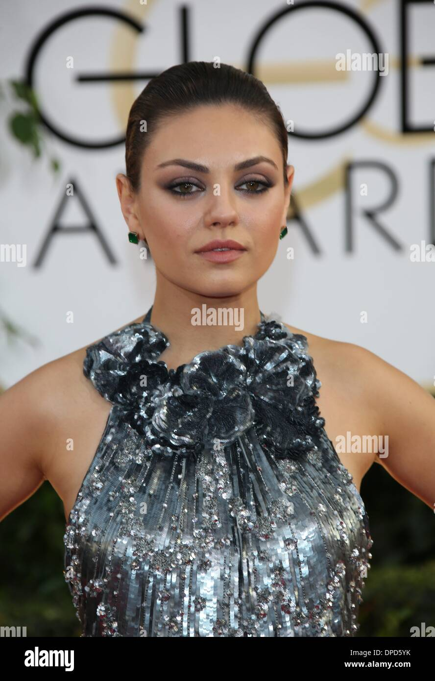Los Angeles, USA. 12th January 2014. Mila Kunis attends the 71st Annual Golden Globe Awards aka Golden Globes at Stock Photo