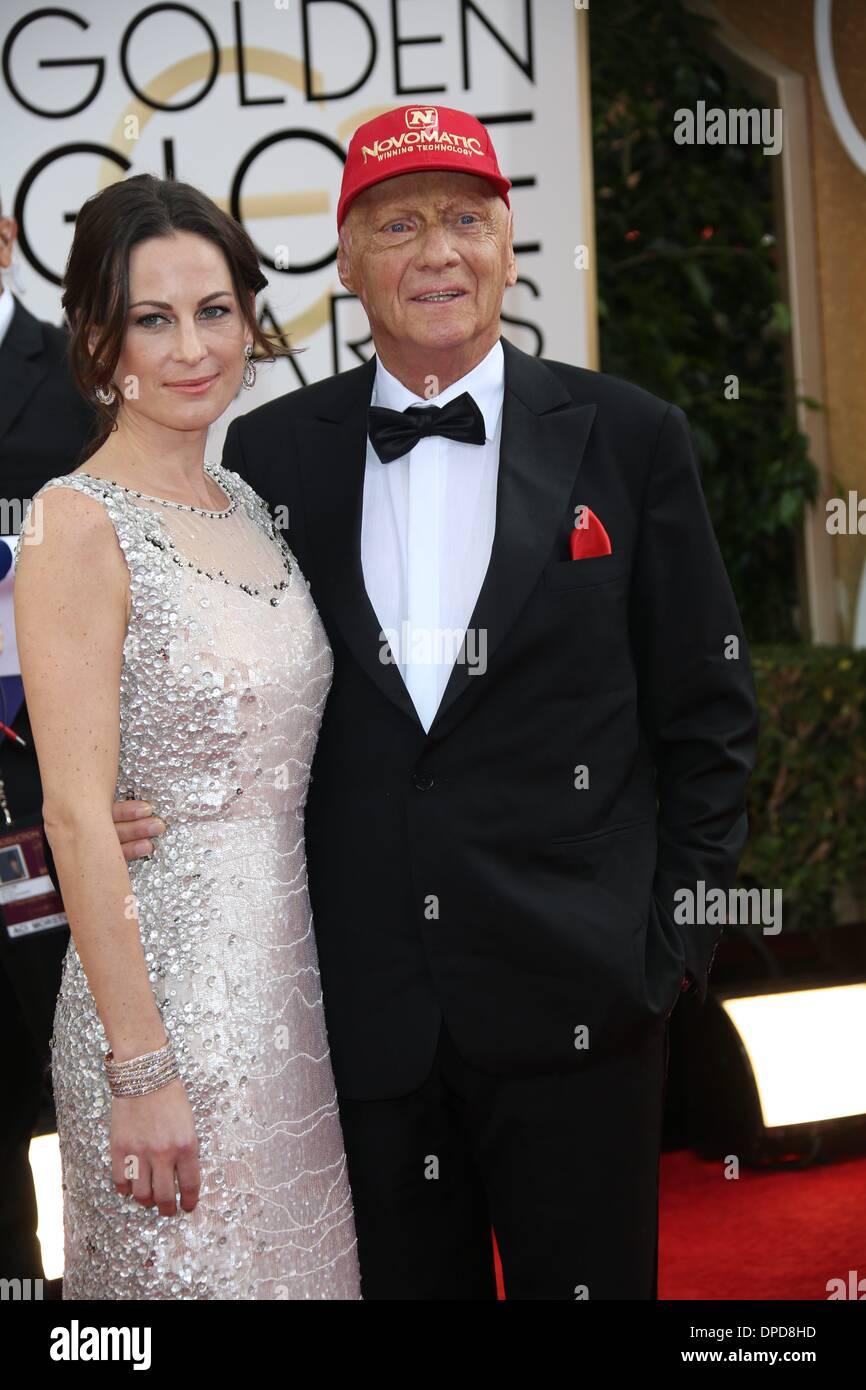 Los Angeles, USA. 12th January 2014. Niki Lauda And Wife