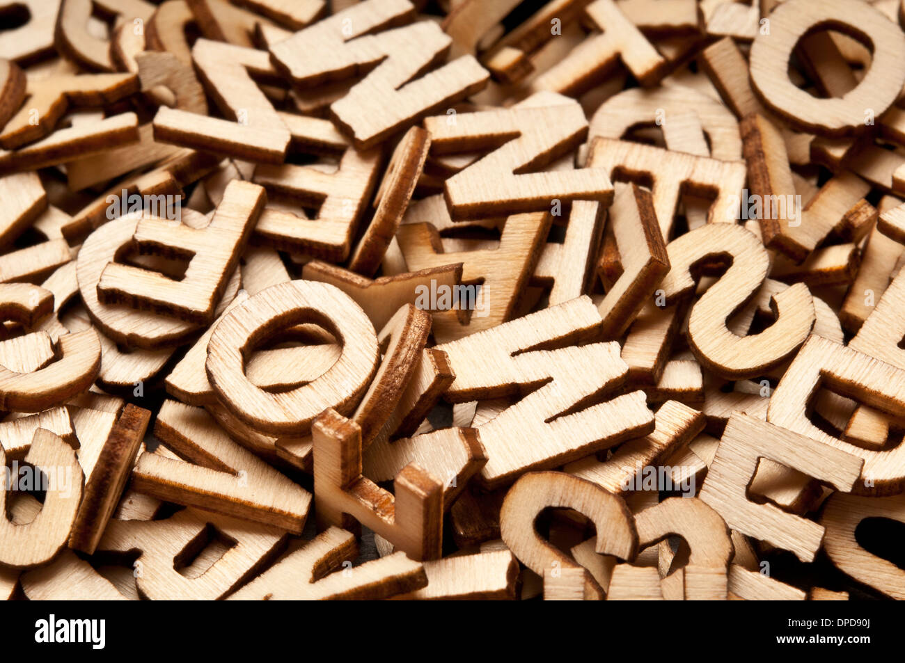 background of wooden alphabet letters - Stock Image