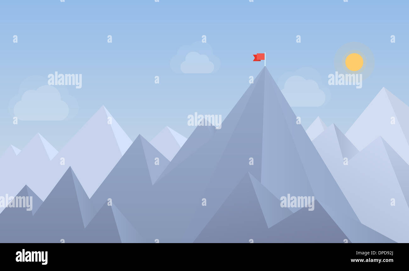 Flat design modern illustration concept of flag on the mountain peak, meaning overcoming difficulties and goals achievement - Stock Image