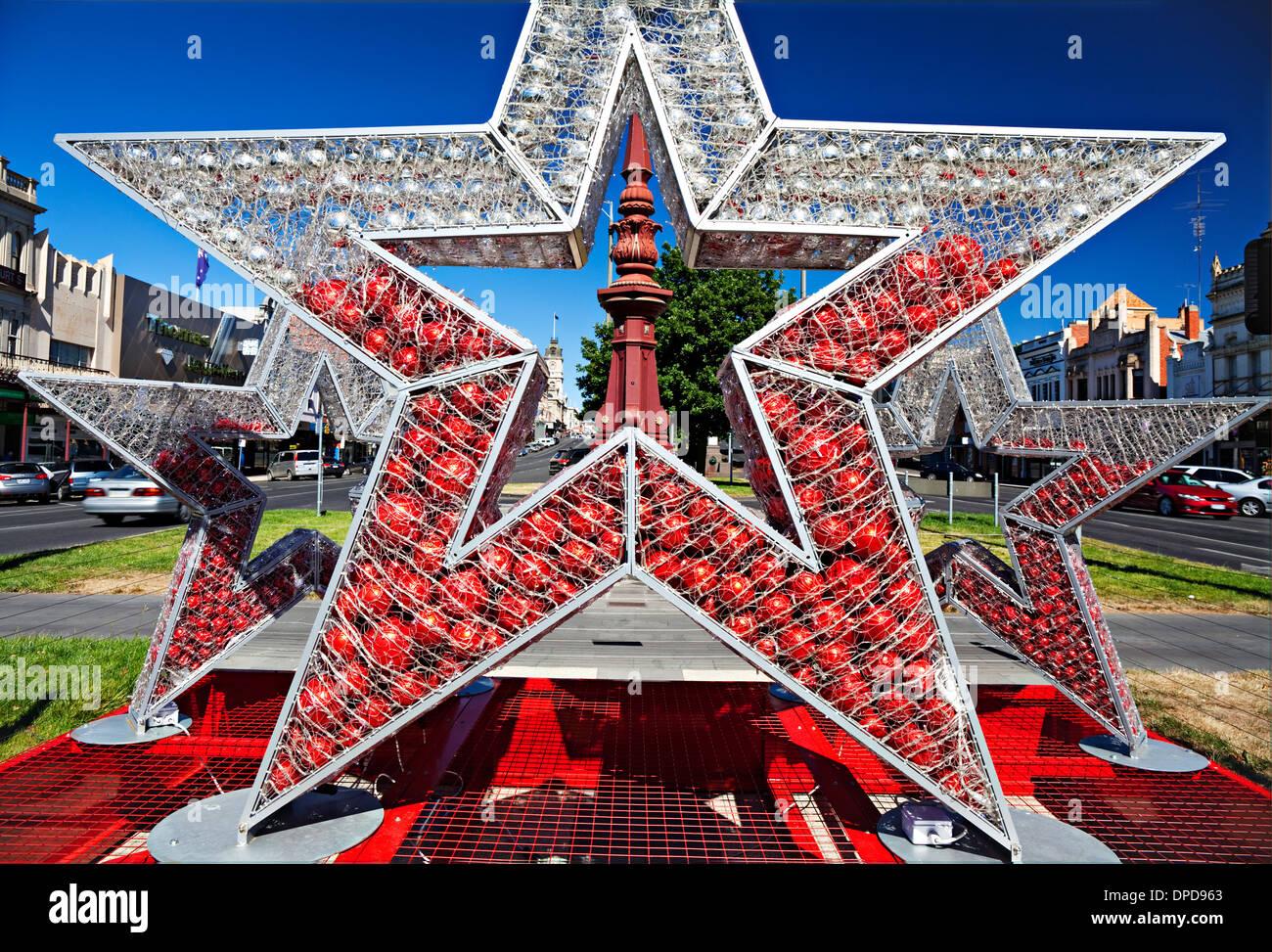 ballarat australia christmas decorations on display in sturt street