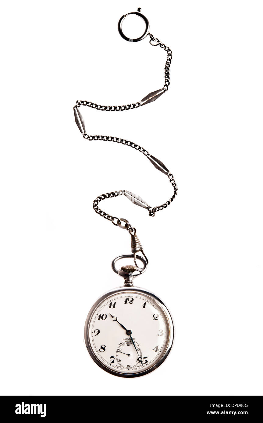 vintage pocket watch with chain - Stock Image