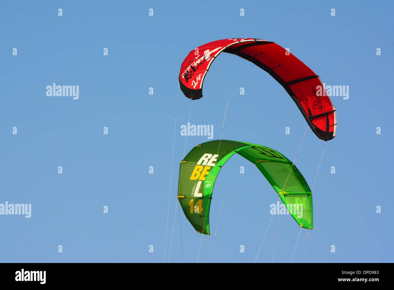 Kite surfing, Kites in the air - Stock Image