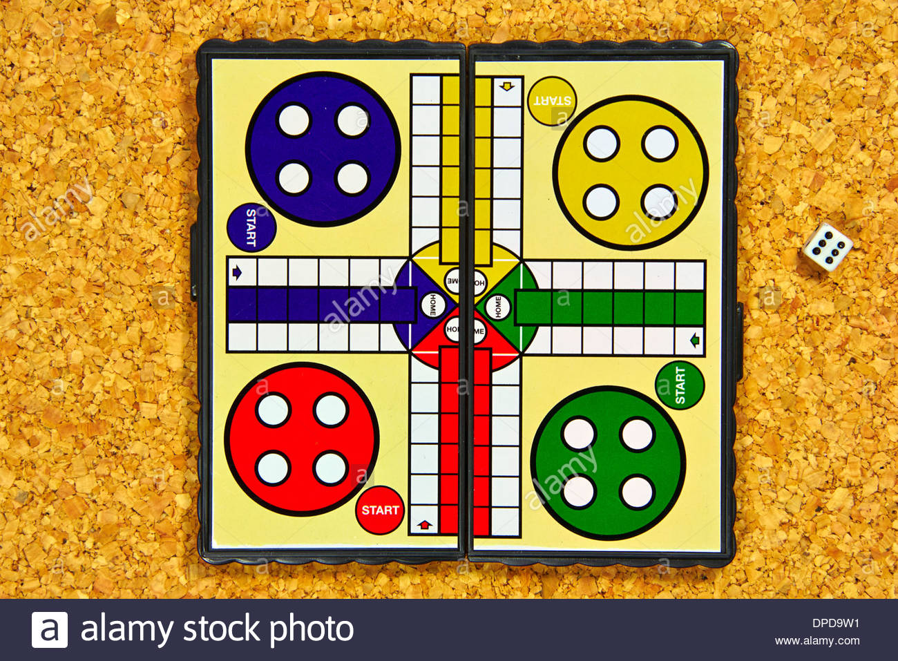 empty ludo small portable magnetic board game with a dice thrown as a six Stock Photo