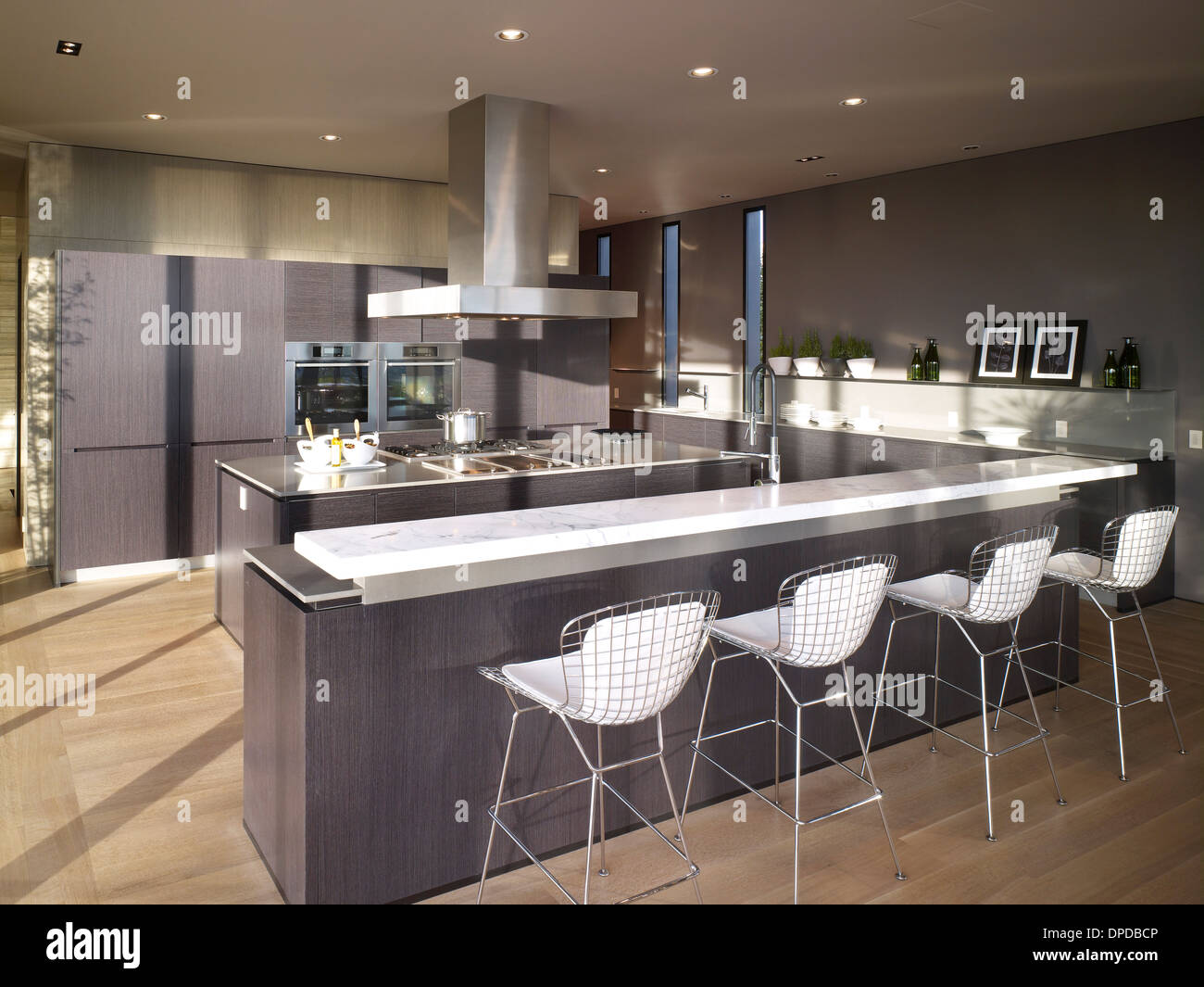 Bar Stools At Breakfast Bar In Luxury Kitchen, Nightingale 2 House,  Hollywood Hills, Hollywood, USA