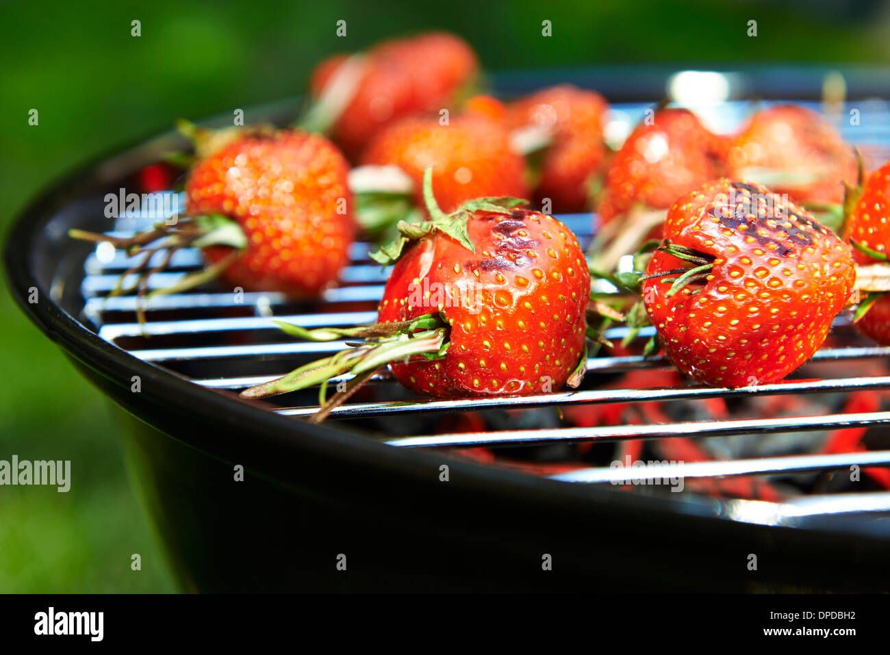 Grilled strawberries spicked with rosmary - Stock Image