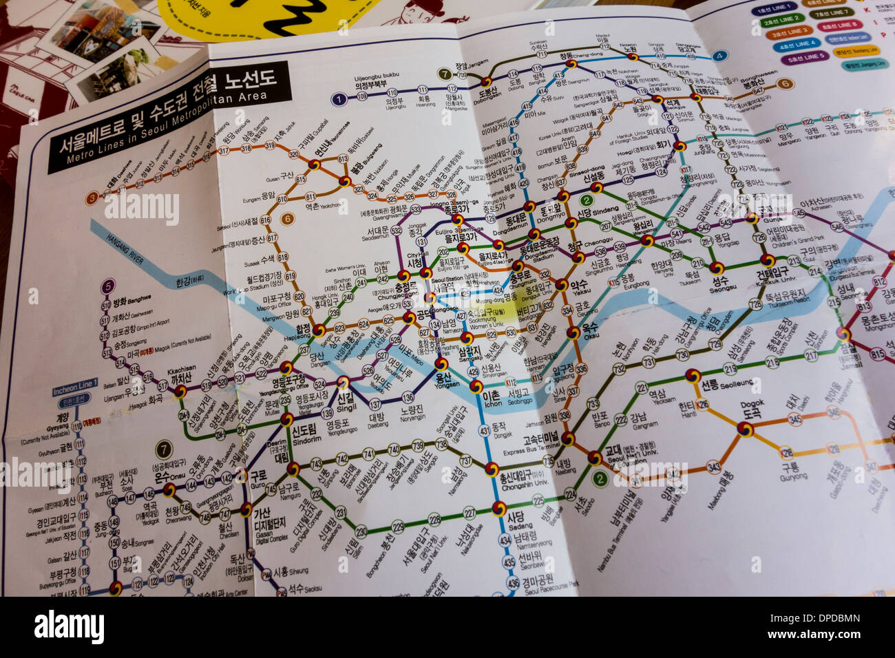 Seoul Metro Subway Map Written In Korean Korea Stock Photo