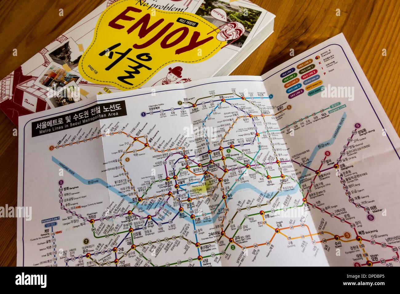 Seoul Metropolitan Subway Map Download.Seoul Metro Subway Map Written In Korean And Seoul Guide Book