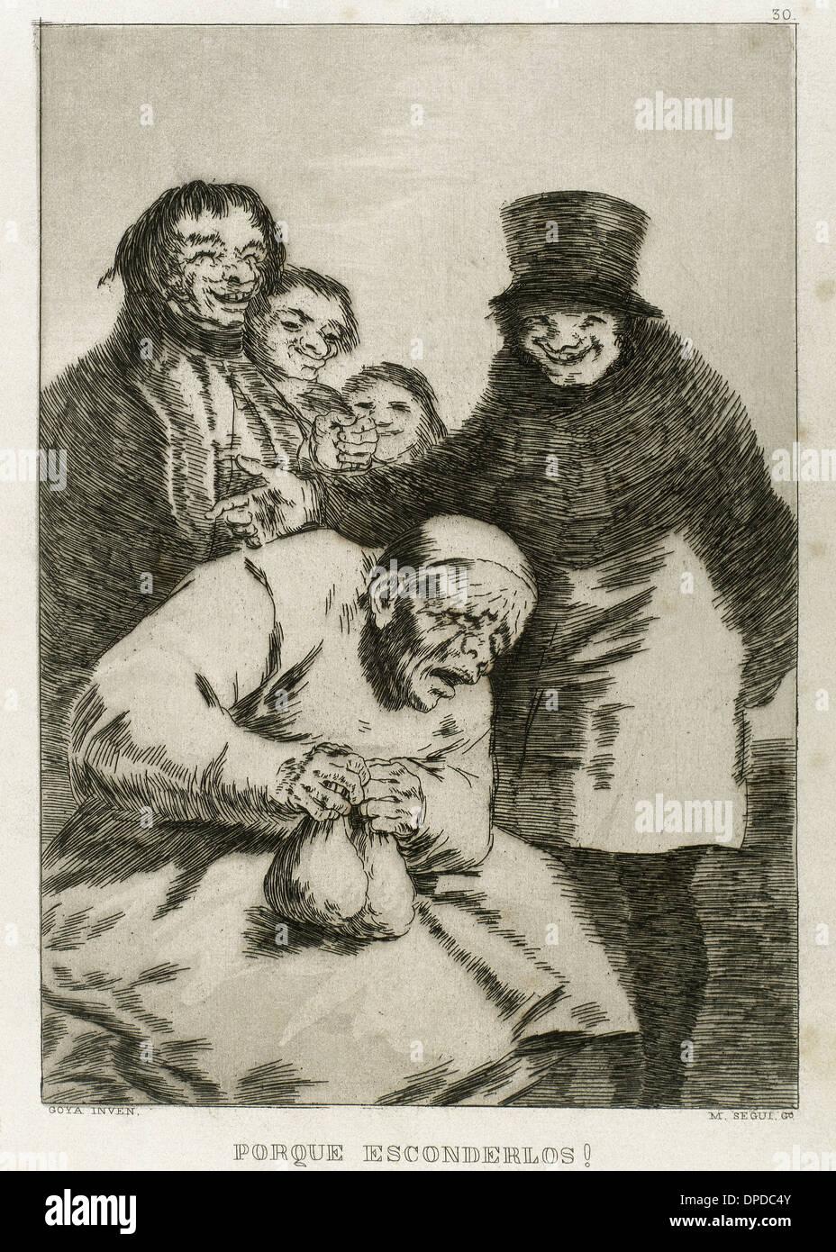 Goya (1746-1828). Spanish painter and printmaker. Los Caprichos. ¿Por que esconderlos? (Why hide them?) . Number 30. Aquatint. - Stock Image