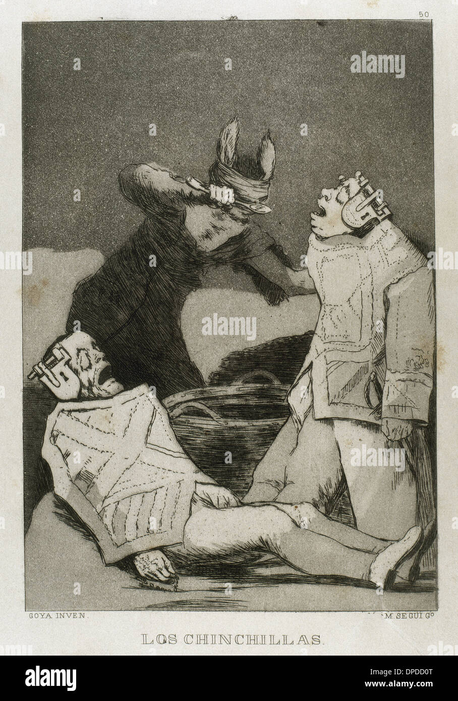 Goya (1746-1828). Spanish painter and printmaker. Los Caprichos. Los Chinchillas (The Chinchillas). Number 50. Aquatint. - Stock Image
