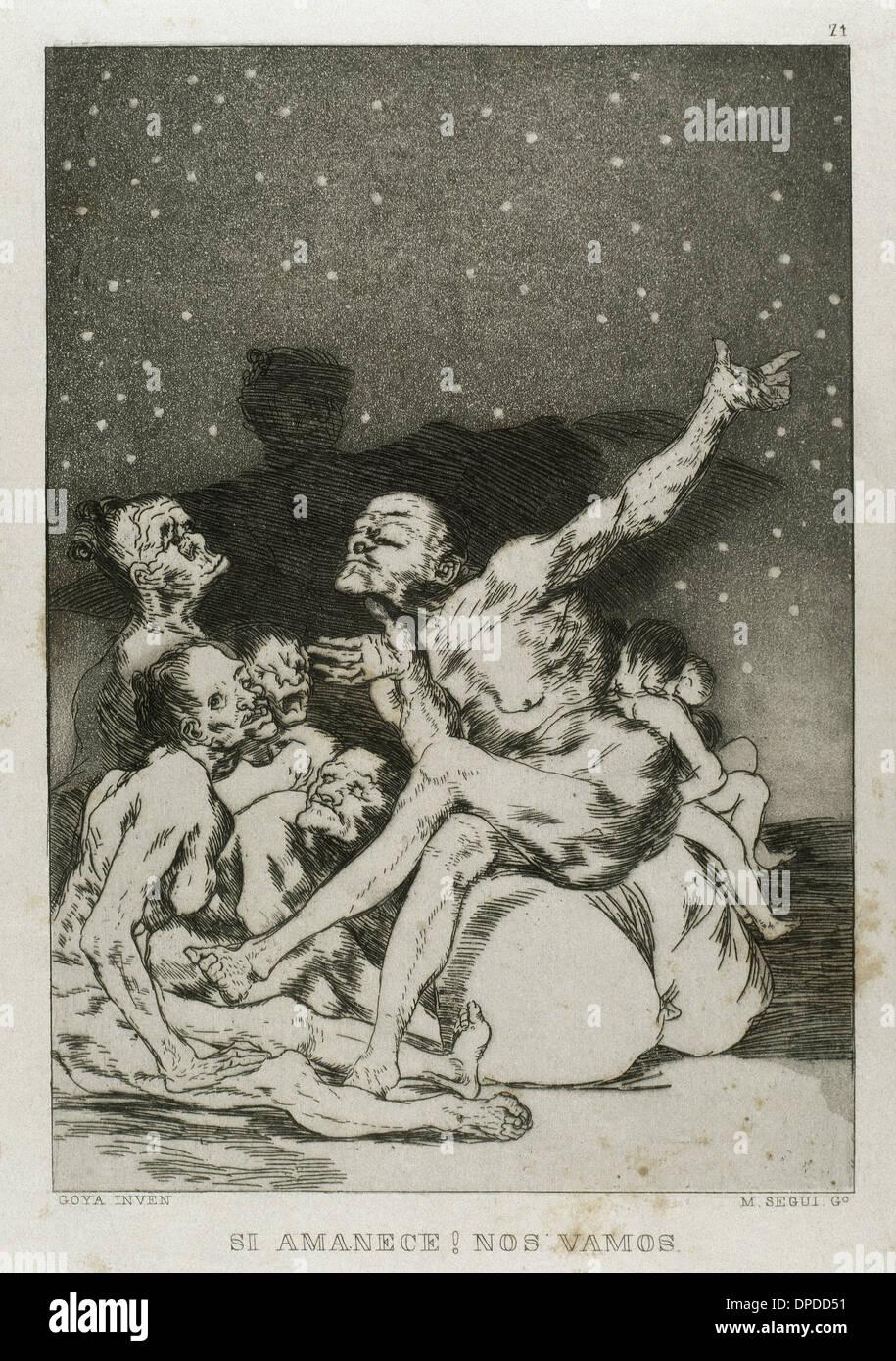 Goya (1746-1828). Spanish painter and printmaker. Los Caprichos. Si amanece, nos vamos (If dawns, we're leaving). Number 71. - Stock Image