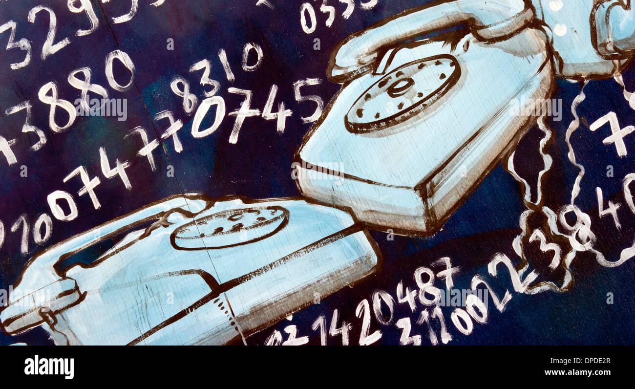 Urban street spray can wall painted art: telephones & phone numbers, Brick Lane area, East London E1 UK Stock Photo