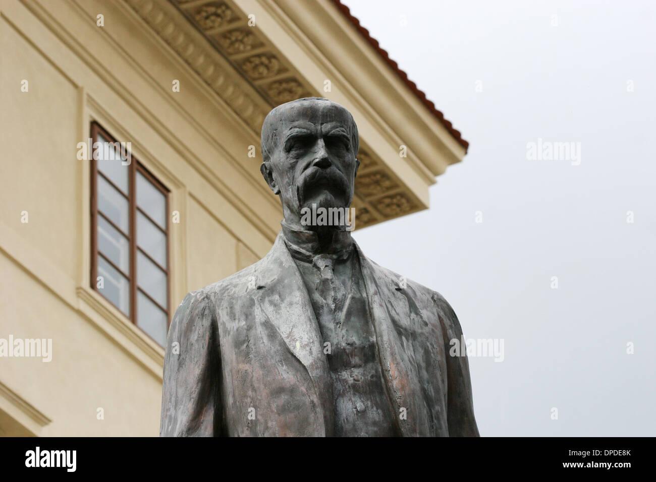 Tomas Garrigue Masaryk (1850-1937). Austrian-Czech politician. First President of czechoslovakia. Statue. Prague. - Stock Image