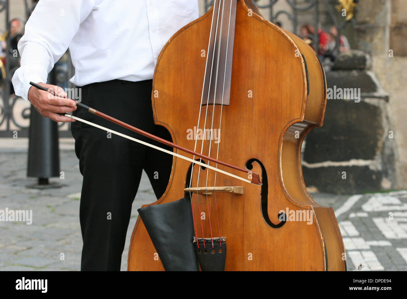 Cellist. Prague. Czech Republic - Stock Image