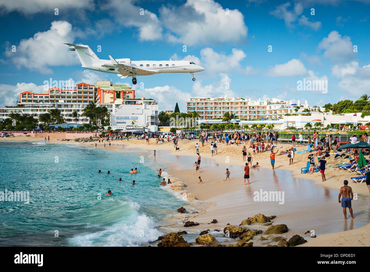 Private jet lands at Maho Beach in Philipsburg, Sint Maarten Stock Photo