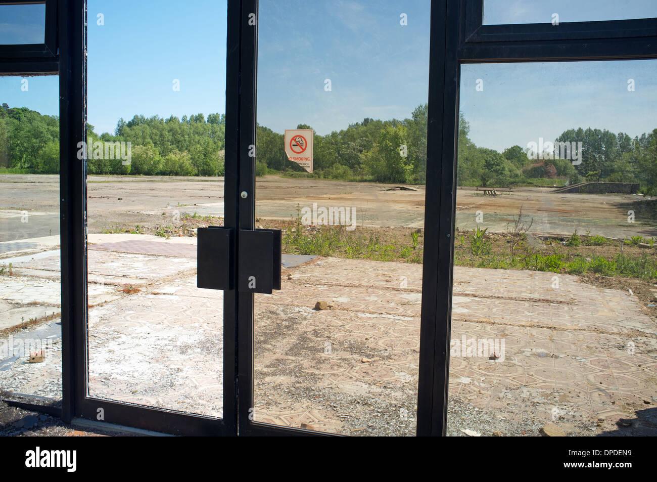 Demolished commercial building, Melton, Suffolk, UK. - Stock Image