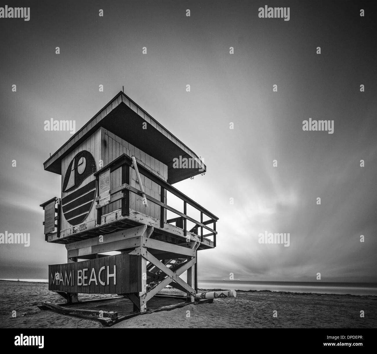 MIAMI, FLORIDA - JANUARY 9, 2013: A lifeguard tower on Miami Beach. Each tower on the beach exhibits a unique architecture. - Stock Image