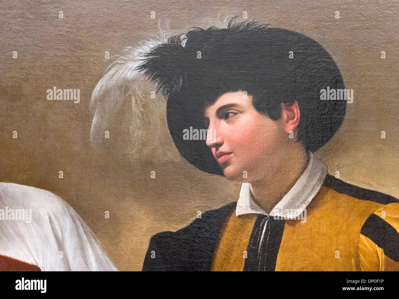 The fortune teller, detail, Caravaggio - Stock Image