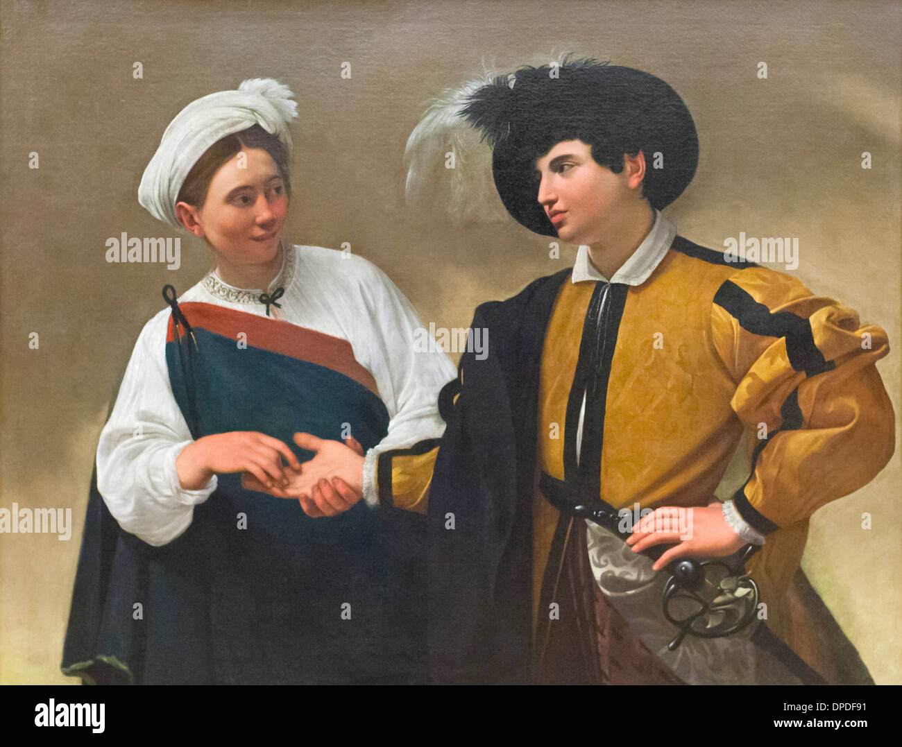 The fortune teller, Caravaggio - Stock Image