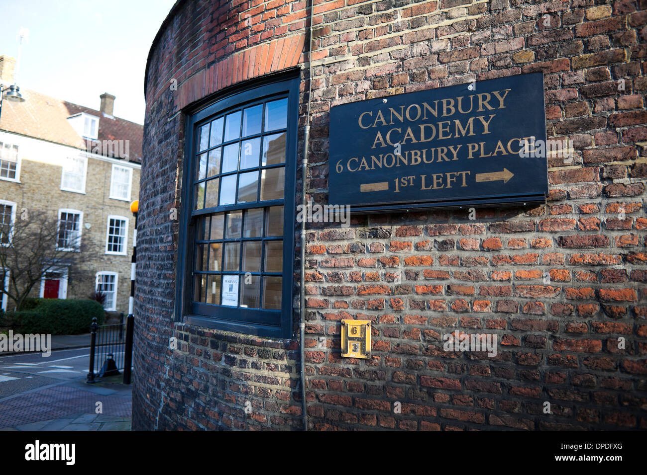 Canonbury Academy sign, Islington, North London, UK, England, Great Britain - Stock Image