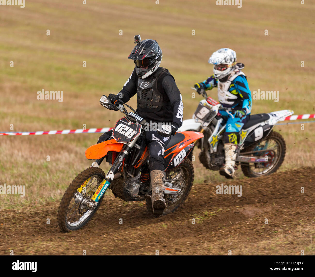 Aberdeenshire, Scotland, UK . 12th Jan, 2014. This is some of the actions scenes from the Aberdeen & District Motocross Club, Stubble Park Race on 12 January 2014 at Fornet Farm, Lyne of Skene, Aberdeenshire, Scotalnd, United Kingdom. Credit:  JASPERIMAGE/Alamy Live News - Stock Image