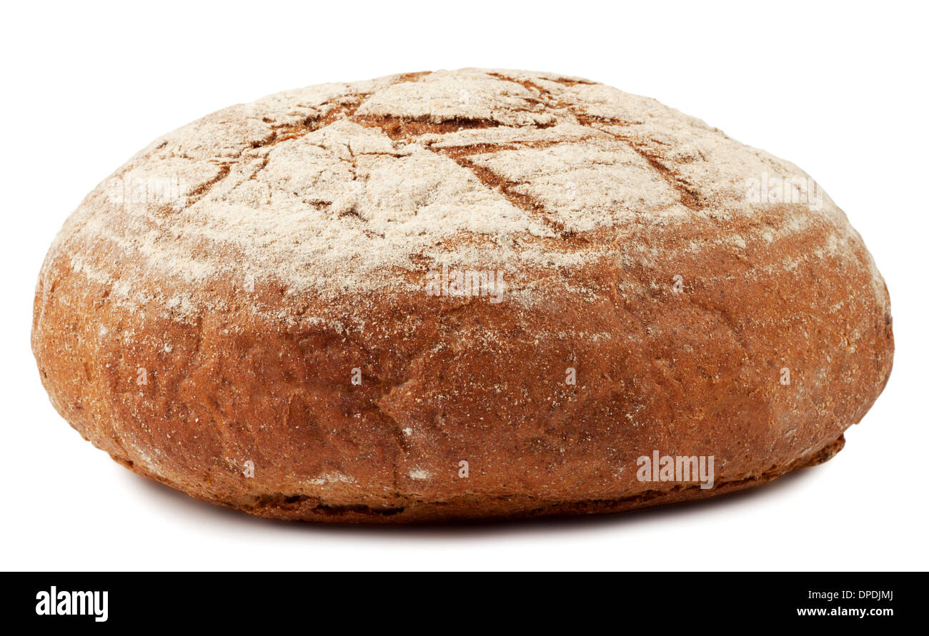A loaf of bread dusted with flour isolated on white background - Stock Image