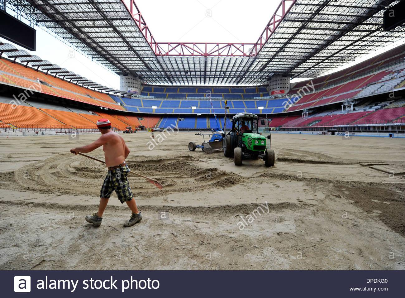 lawn renovation of the stadium San Siro Stock Photo
