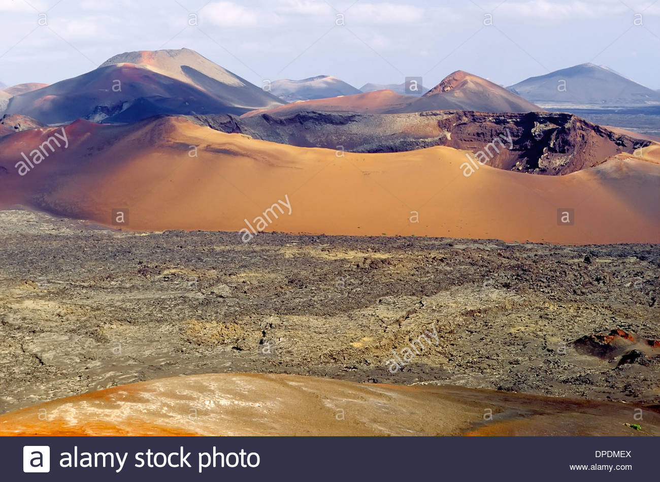 Volcanoes, Montanas del Fuego, Timanfaya National Park, Lanzarote, Canary Islands, Spain Stock Photo