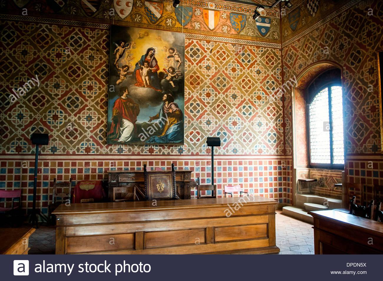 salon of parties,castle of Conti Guidi,poppi,tuscany,italy - Stock Image