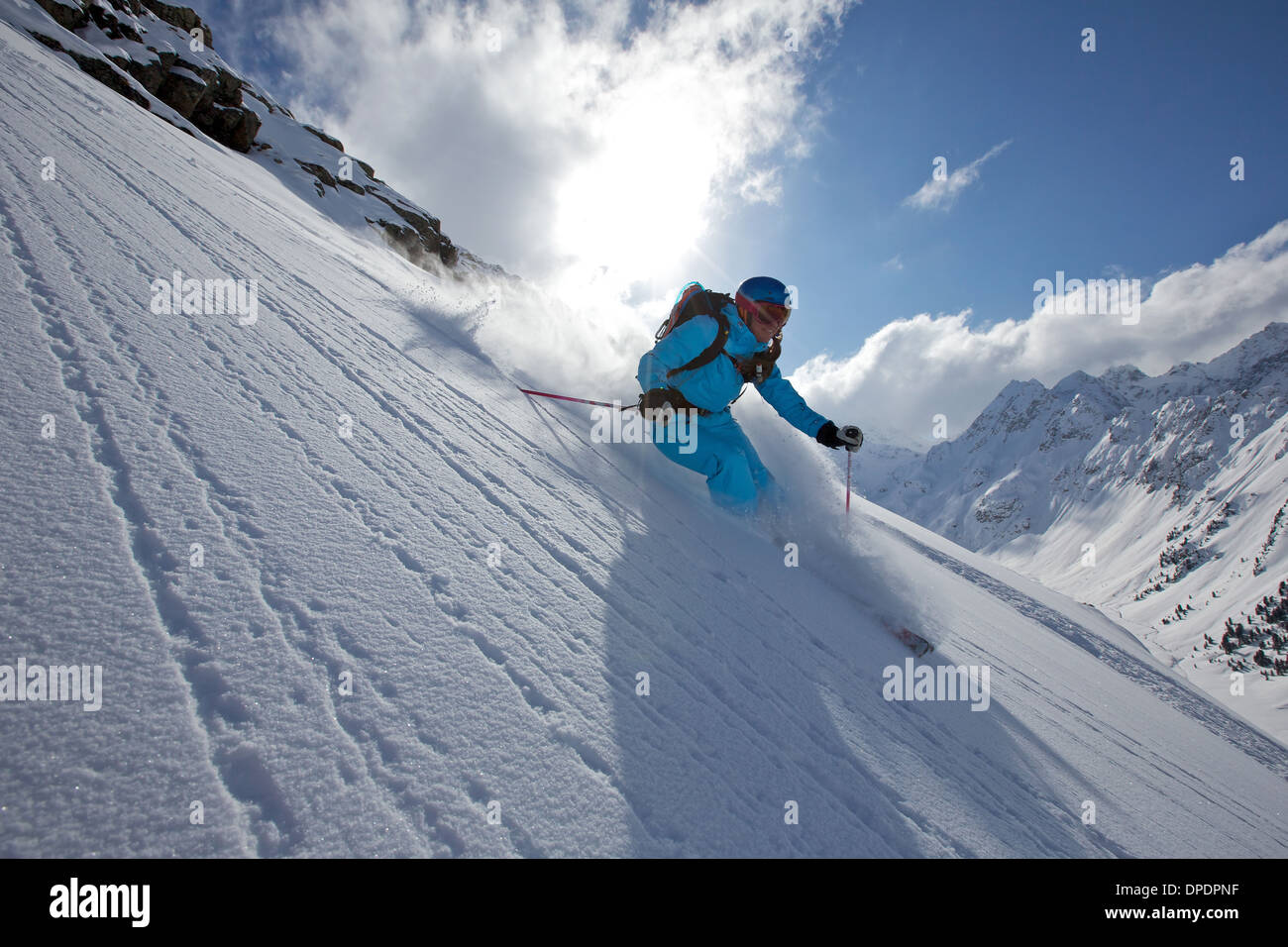 Woman off piste skiing in Kuhtai , Tirol, Austria - Stock Image