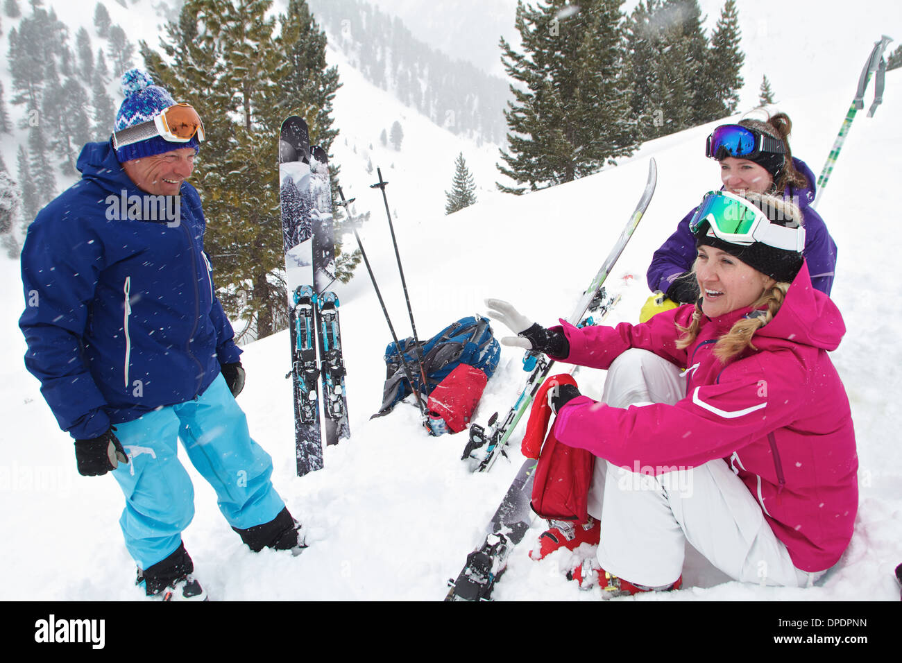 Guide and clients ski touring in Kuhtai, Austria - Stock Image
