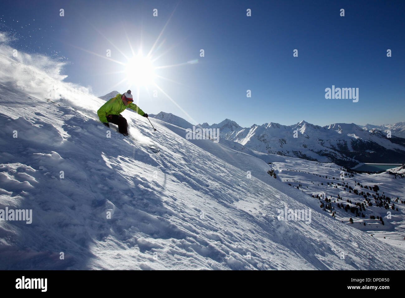 Man skiing off piste in Kuhtai ,Tirol, Austria - Stock Image