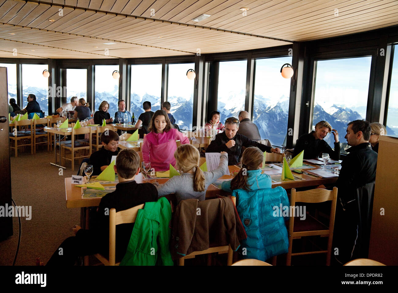 Interior of the Kuklos rotating skiing restaurant at the peak of La Berneuse, Leysin, Vaud, Switzerland Europe - Stock Image